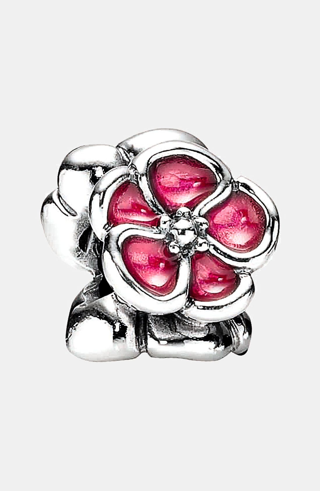 Enamel Poppy Charm,                         Main,                         color, Silver/ Red