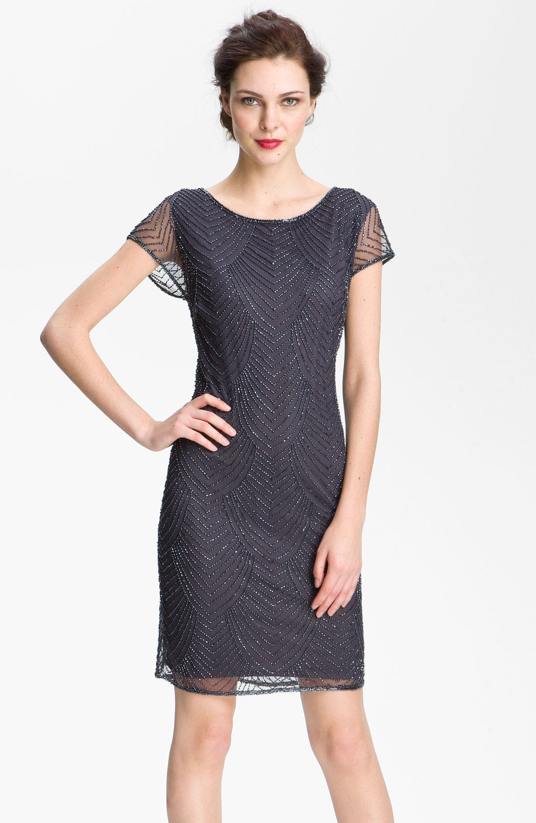 Main Image - Pisarro Nights Beaded Overlay Silk Chiffon Dress