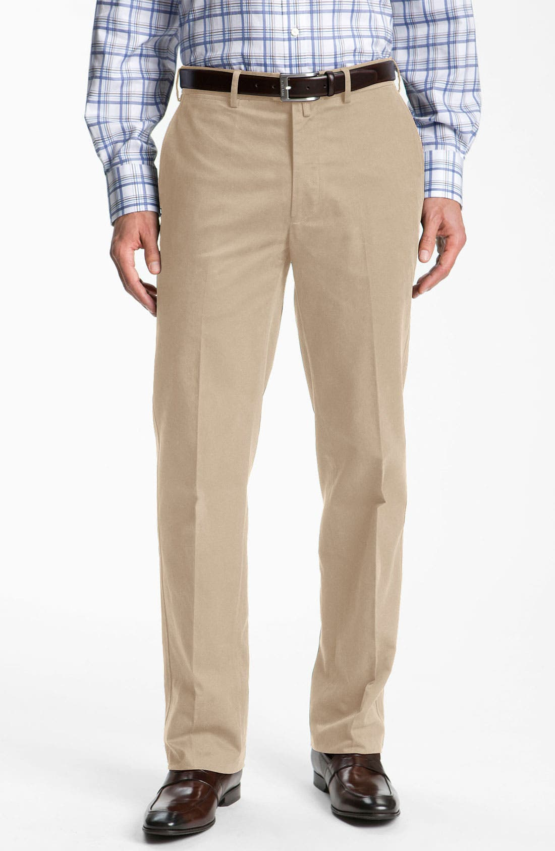 Alternate Image 1 Selected - Façonnable 'Savon' Flat Front Cotton Trousers