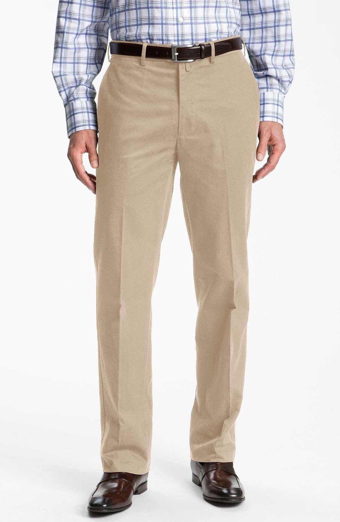 Main Image - Façonnable 'Savon' Flat Front Cotton Trousers