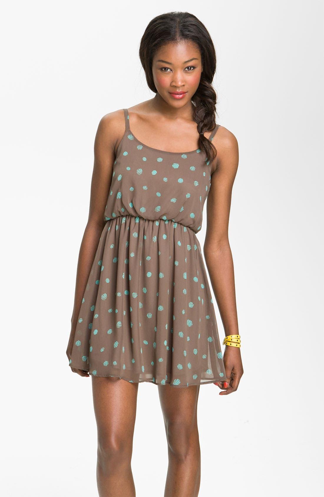 Main Image - Lush Print Blouson Dress (Juniors)