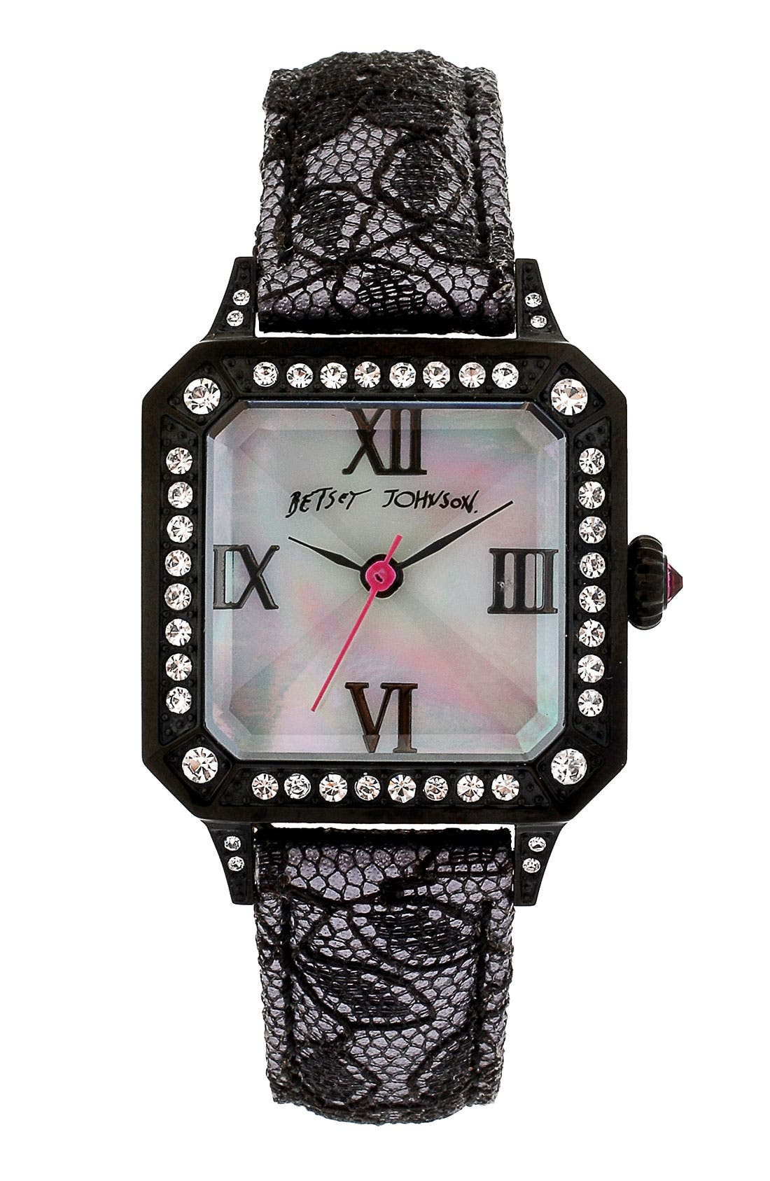 Alternate Image 1 Selected - Betsey Johnson Square Dial Lace & Leather Strap Watch