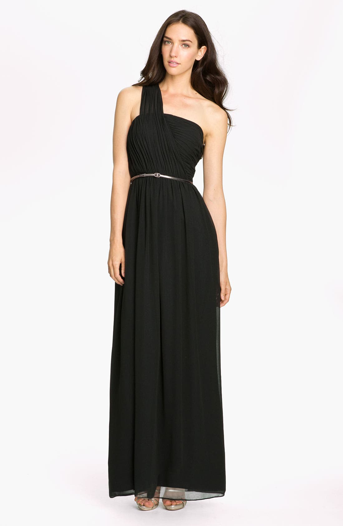 Main Image - Donna Morgan One Shoulder Chiffon Gown