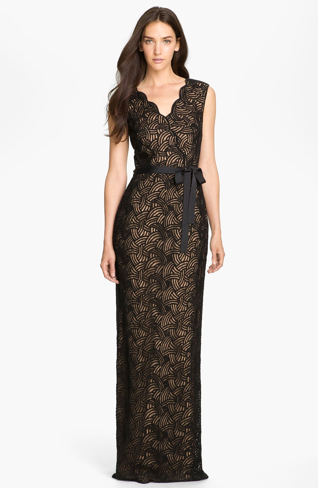 Alternate Image 1 Selected - Tadashi Shoji Surplice Scalloped Lace Gown