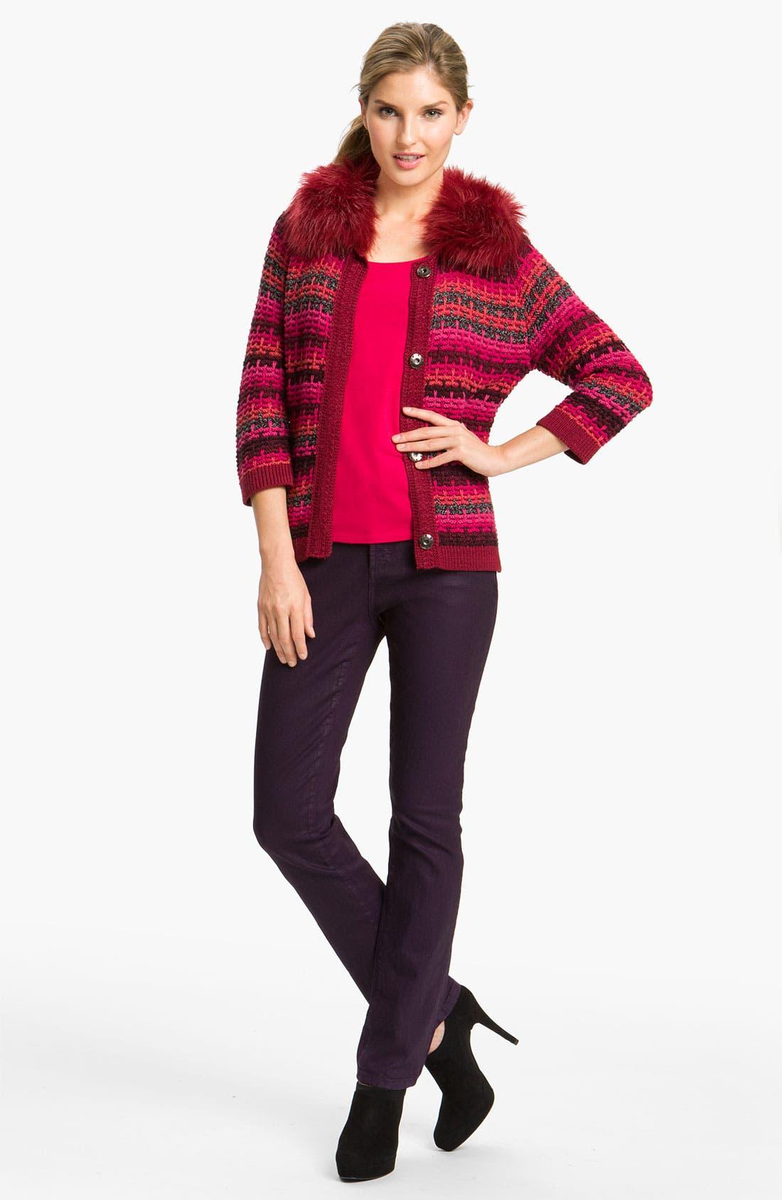Alternate Image 5  - Nic + Zoe Stripe Cardigan with Detachable Collar
