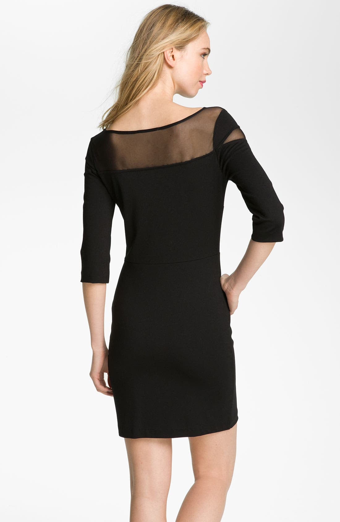 Alternate Image 2  - BB Dakota Mesh Yoke Ponte Sheath Dress