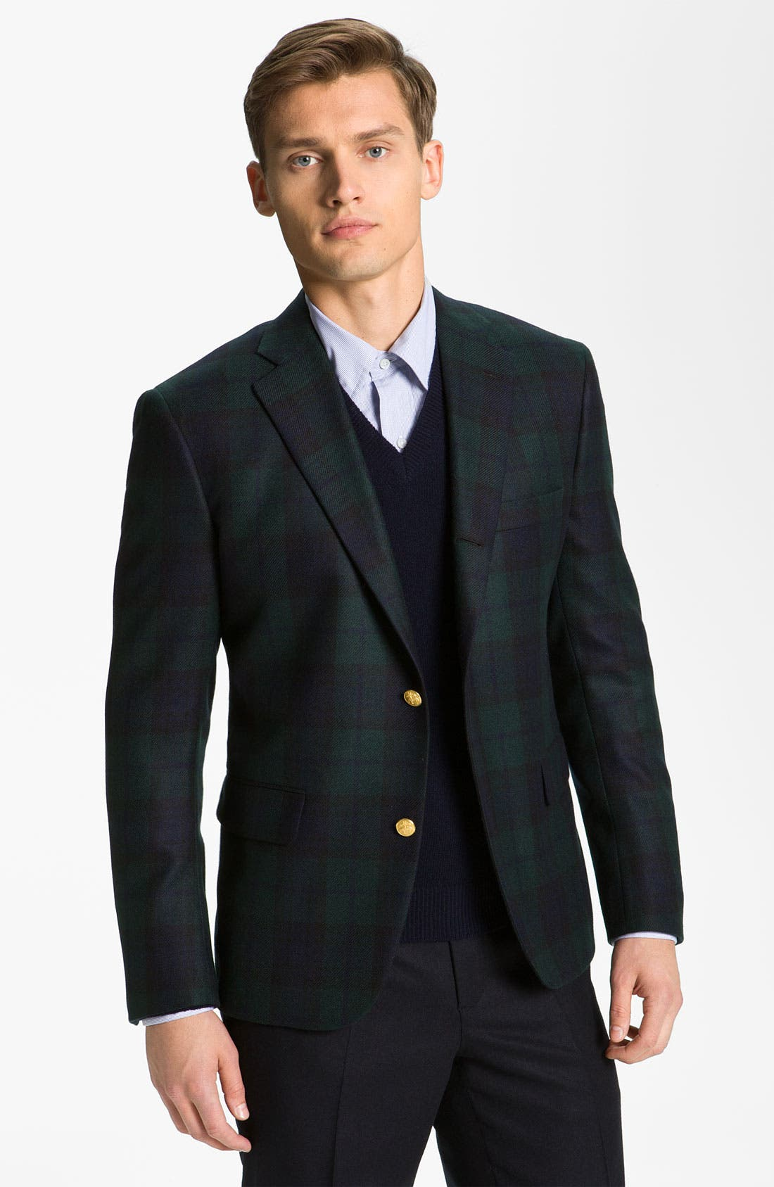 Main Image - Brooks Brothers by Jeffrey Plaid Cashmere Blazer