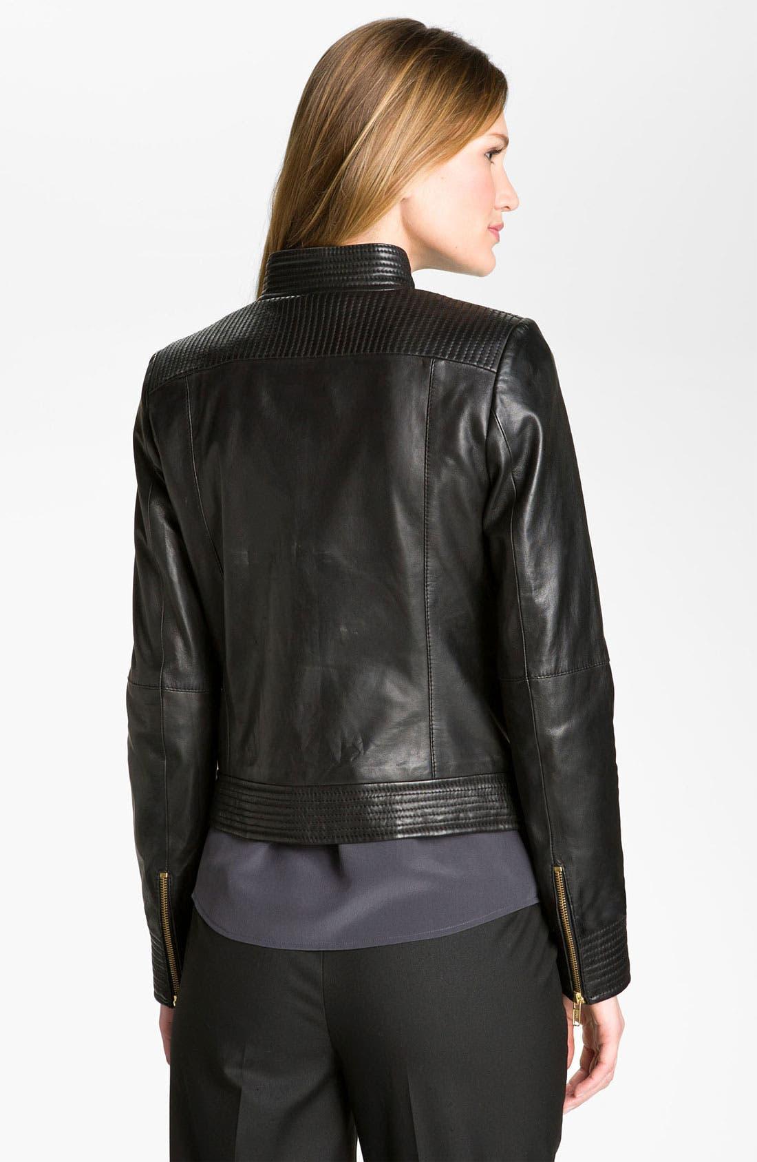 'Moss' Zip Detail Leather Jacket,                             Alternate thumbnail 2, color,                             Black