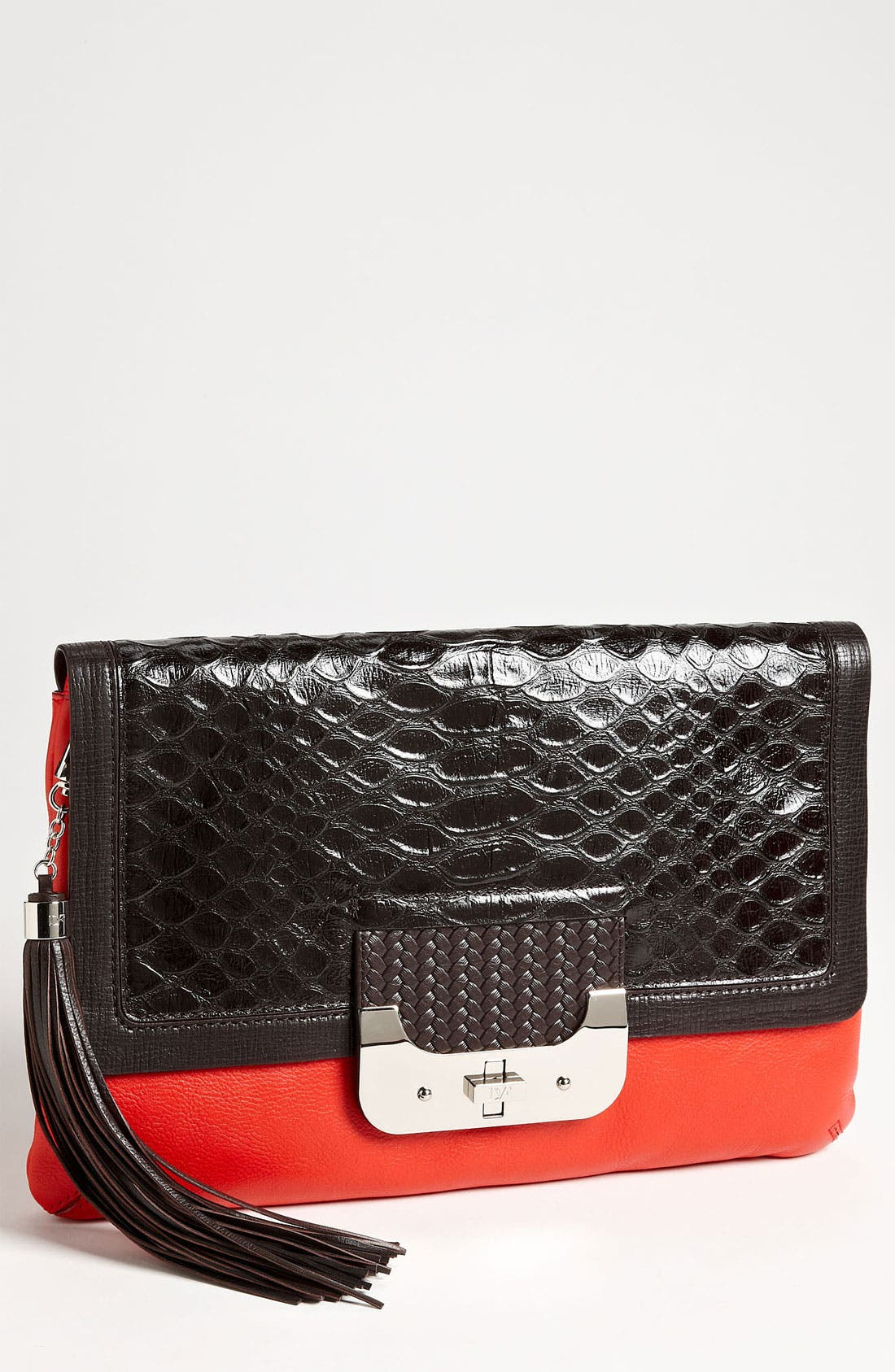 Alternate Image 1 Selected - Diane von Furstenberg 'Harper' Python Embossed Envelope Clutch