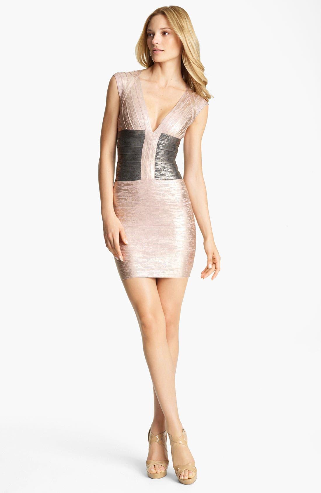Alternate Image 1 Selected - Herve Leger Foil Bandage Dress