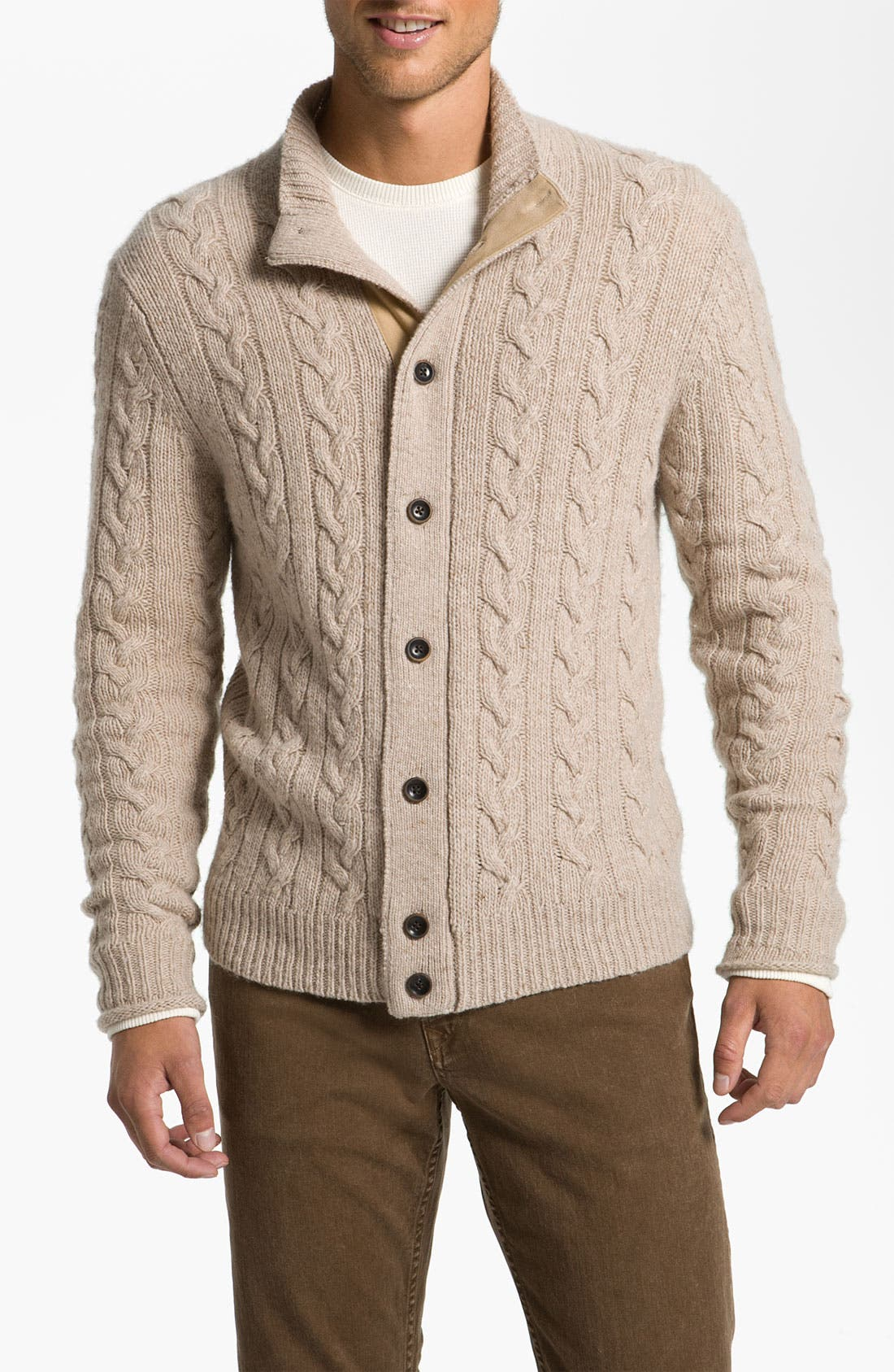 Main Image - Hickey Freeman Cable Knit Merino Wool Blend Cardigan