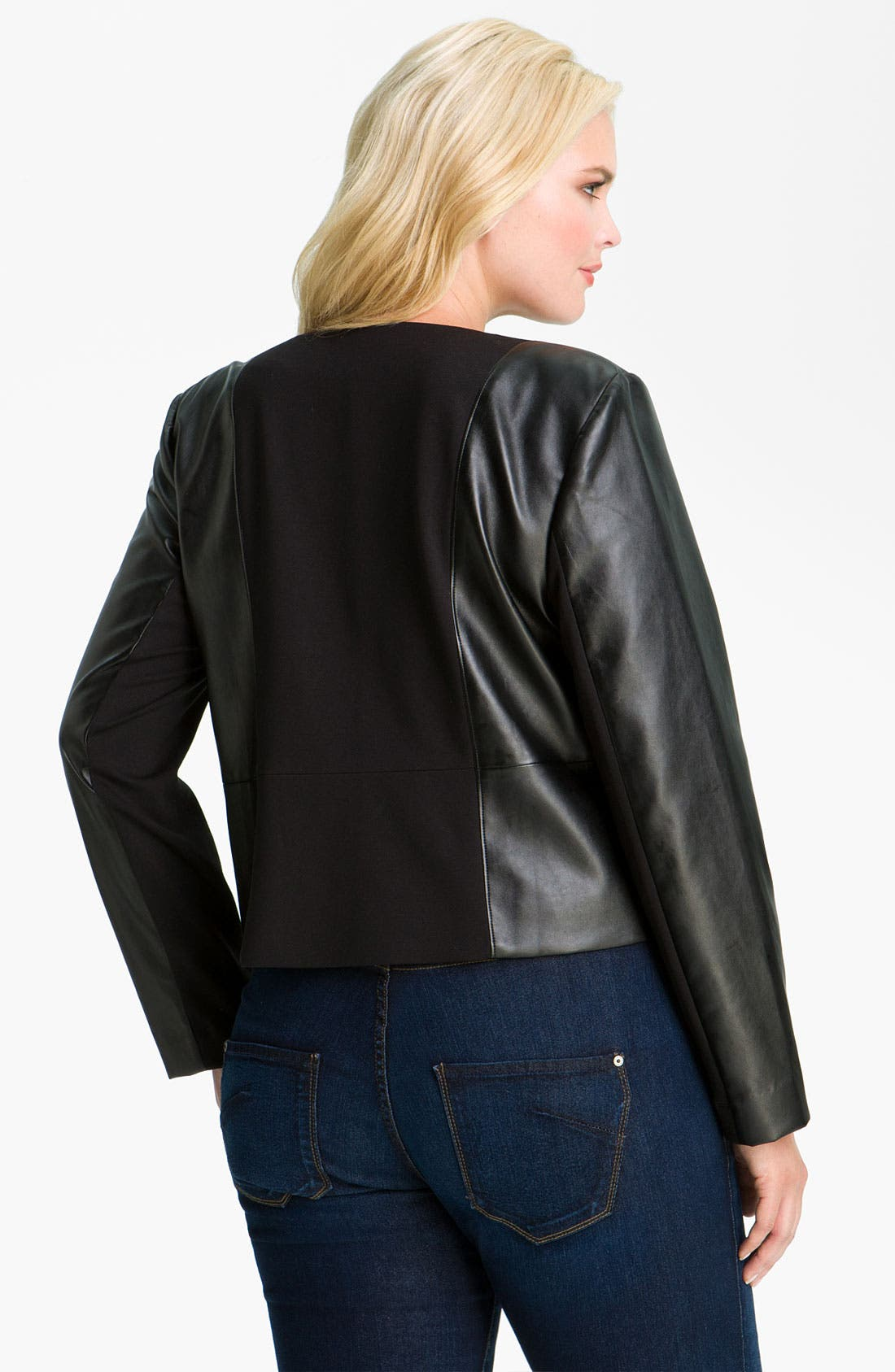Alternate Image 2  - DKNYC Faux Leather Moto Jacket (Plus)