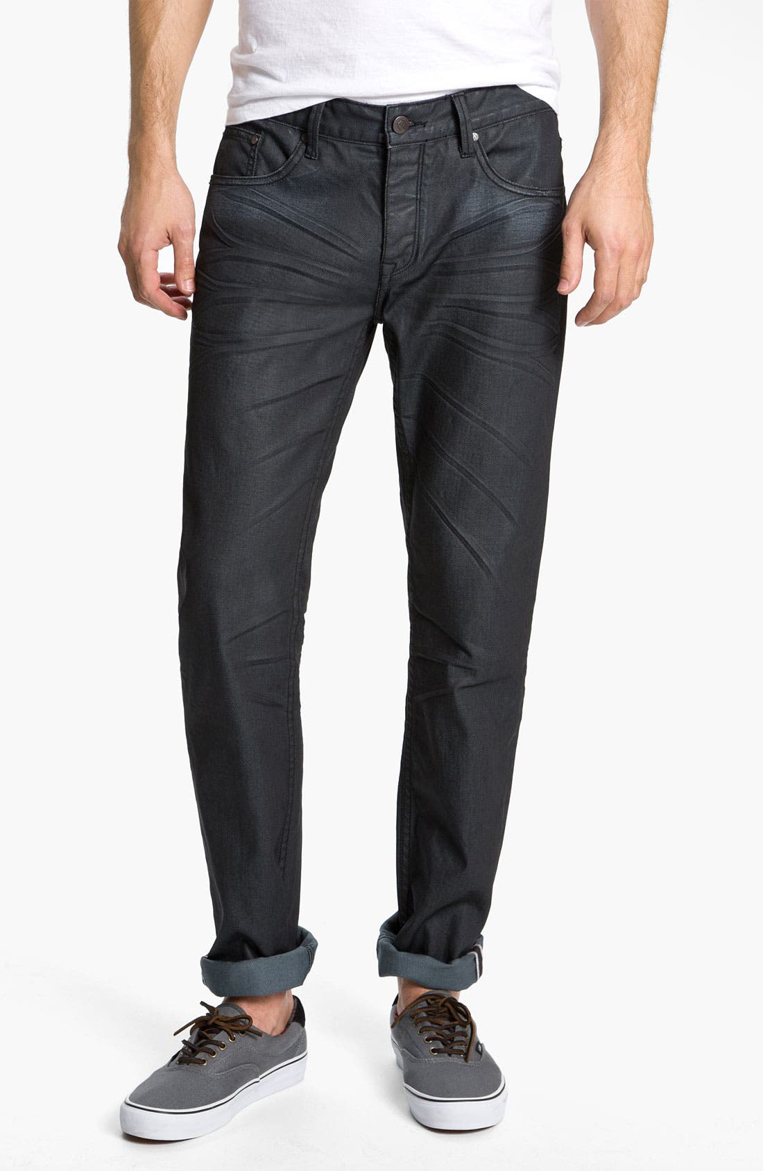 Alternate Image 2  - Zanerobe 'Straight Mate' Coated Slim Straight Leg Jeans (Blue Black Wax)