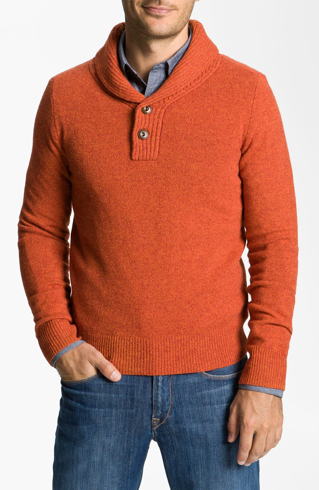 Main Image - Façonnable Shawl Collar Henley Sweater