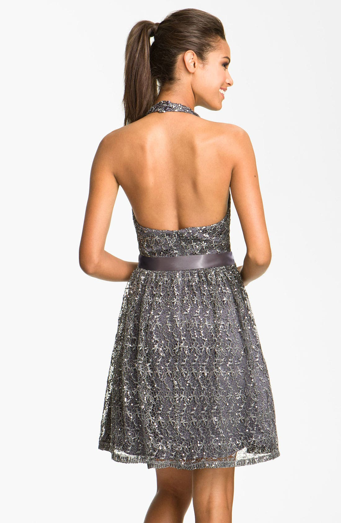 Alternate Image 2  - Adrianna Papell Sequin Lace Halter Dress