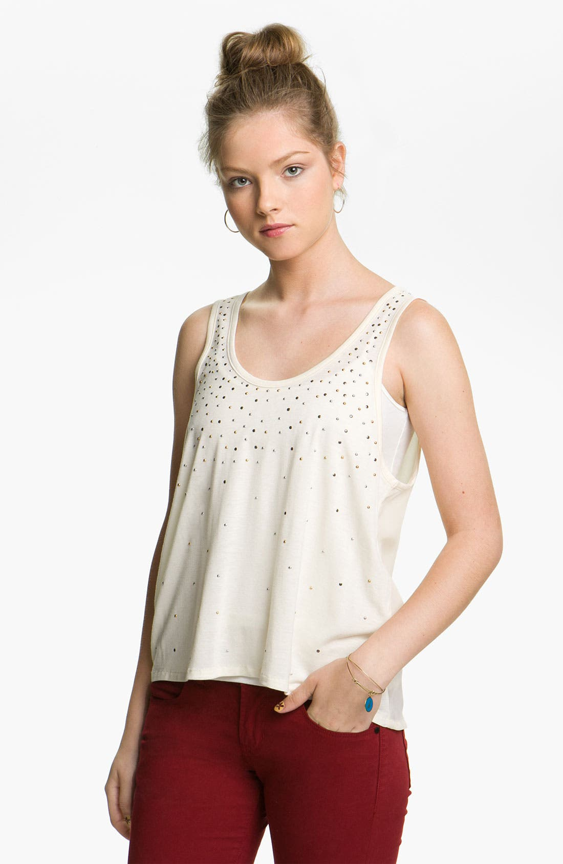 Alternate Image 1 Selected - Chloe K Star Studded Tank (Juniors)