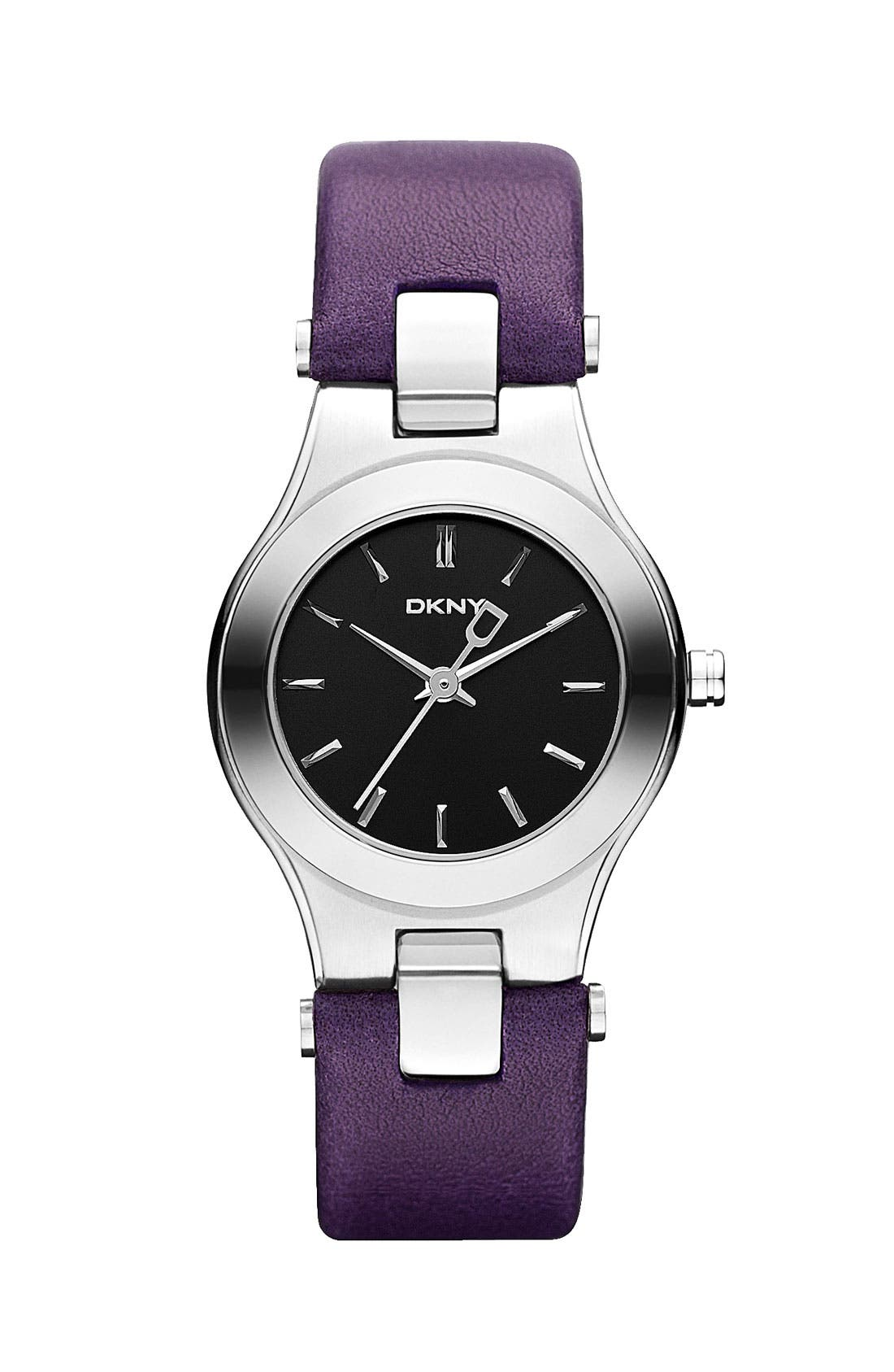 Main Image - DKNY Round Leather Strap Watch