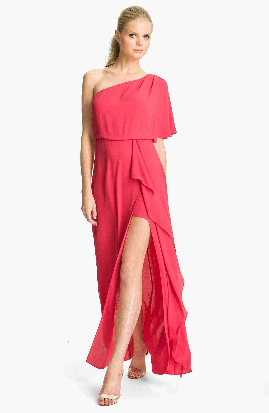 Alternate Image 1 Selected - BCBGMAXAZRIA 'Kendal' One Shoulder Chiffon Gown
