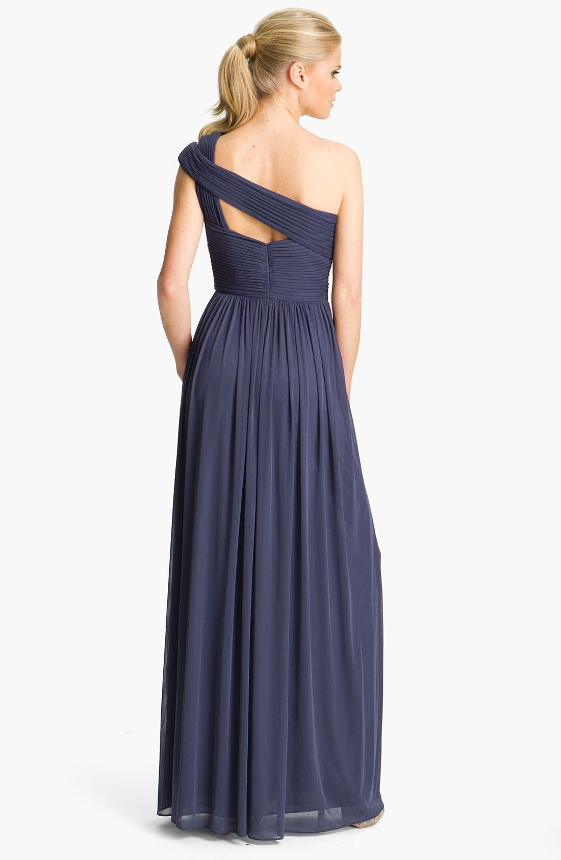 Alternate Image 2  - ML Monique Lhuillier Bridesmaids Cutout One-Shoulder Mesh Gown (Nordstrom Exclusive)
