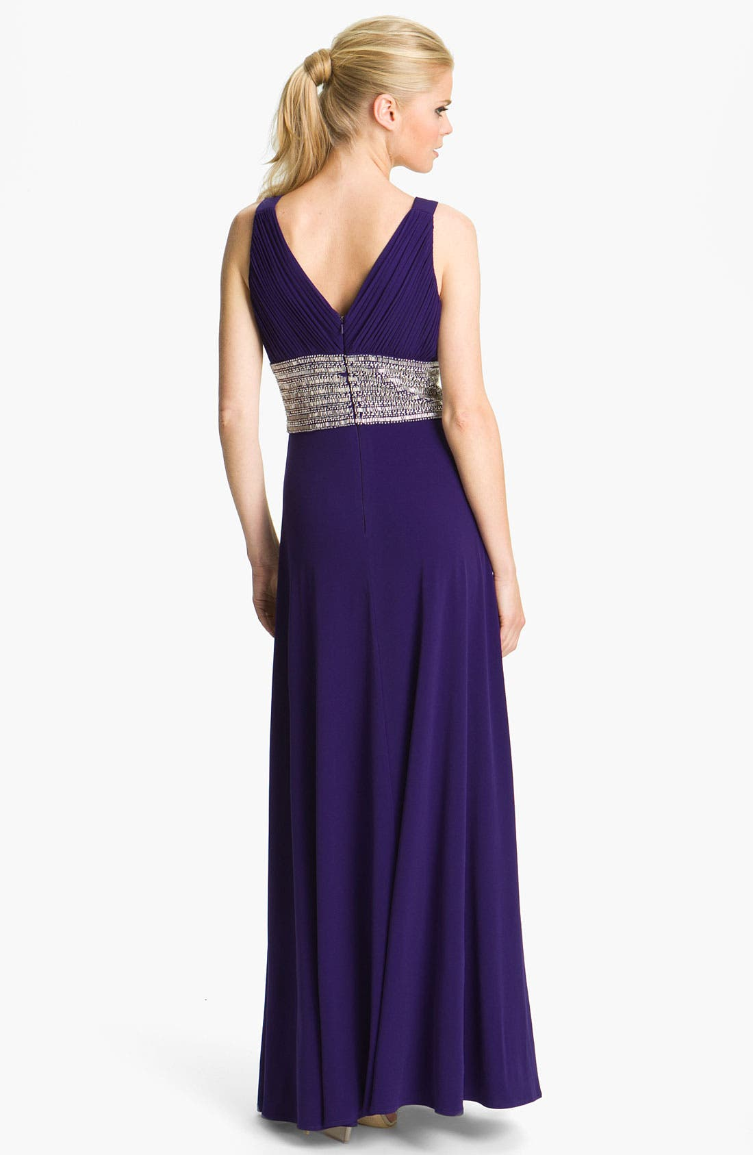 Alternate Image 2  - JS Boutique Beaded Waist Jersey Gown