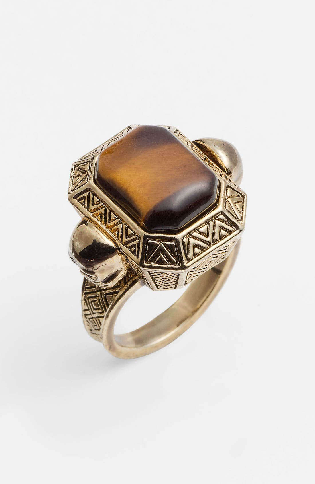 Engraved Skull Tiger's Eye Cocktail Ring,                         Main,                         color, Gold/ Tigers Eye