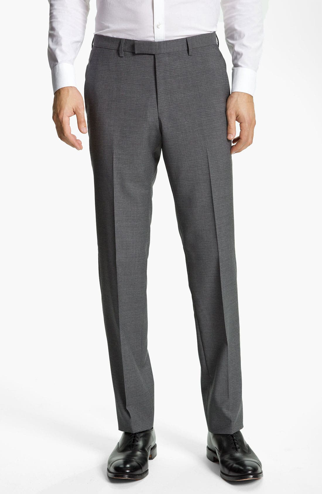 Alternate Image 1 Selected - BOSS Black 'Sharp' Grid Check Wool Trousers