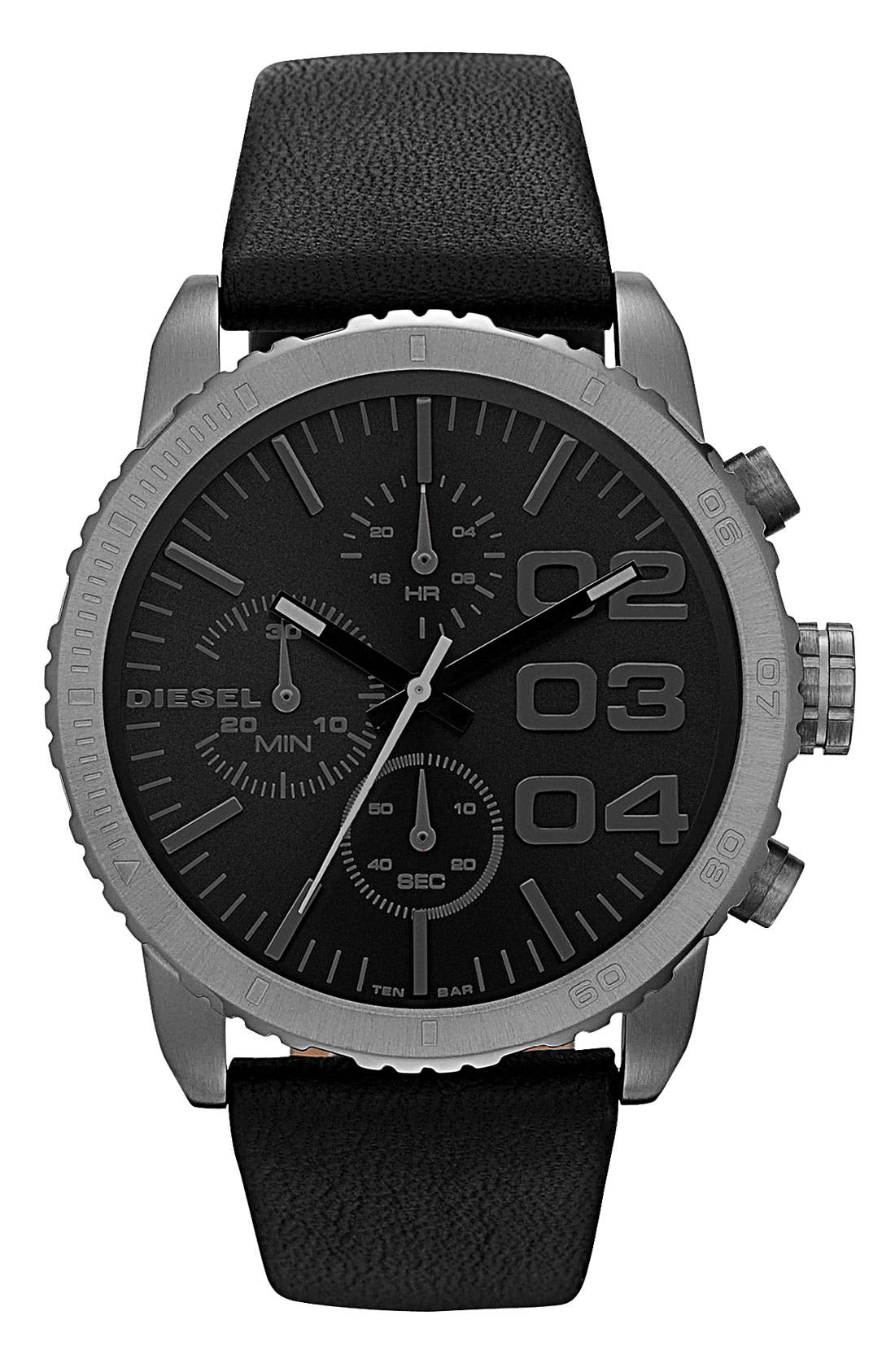Main Image - DIESEL® 'Franchise' Chronograph Leather Strap Watch, 42mm
