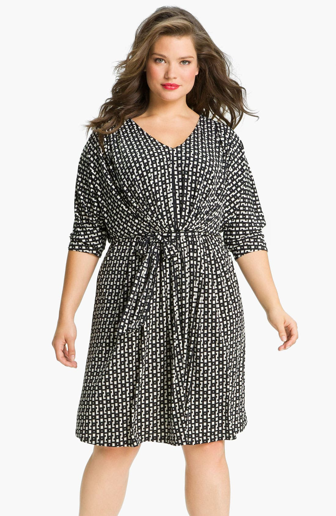 Main Image - Suzi Chin for Maggy Boutique Dolman Sleeve V-Neck Dress (Plus)