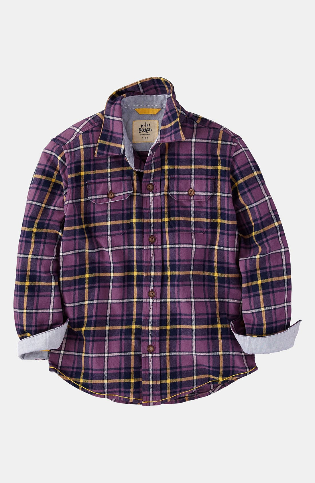 Main Image - Mini Boden Brushed Plaid Shirt (Little Boys & Big Boys)