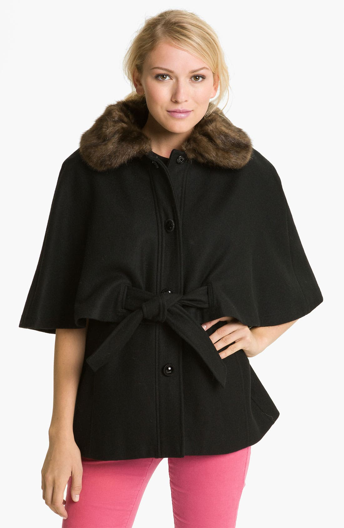 Main Image - Betsey Johnson Faux Fur Collar Cape (Online Exclusive)