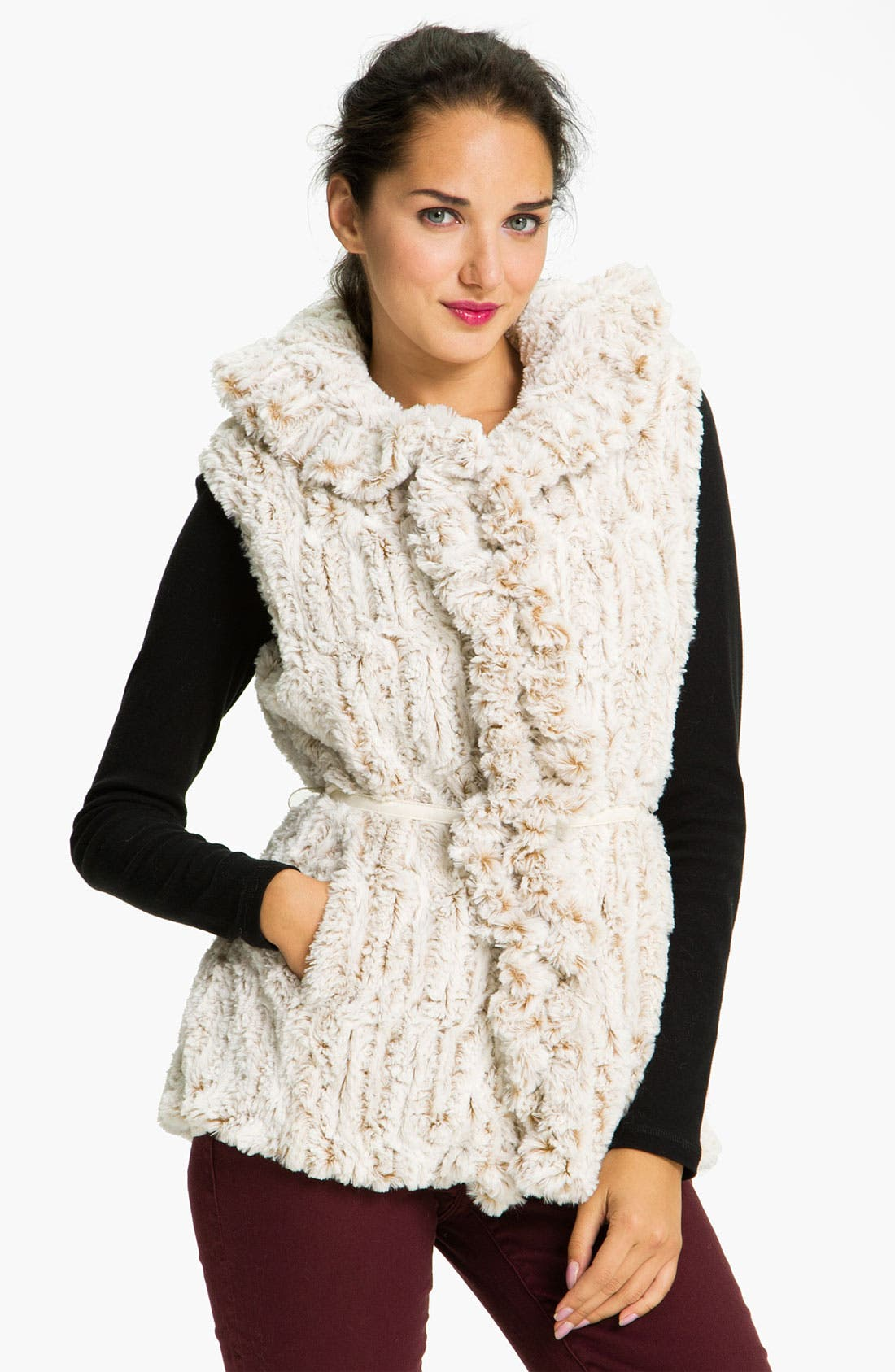Alternate Image 1 Selected - Damselle Faux Fur Ruffle Vest