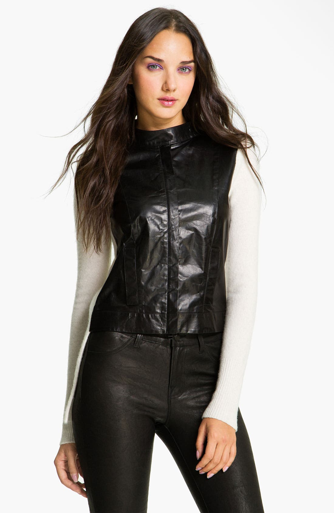 Main Image - Robert Rodriguez Leather & Wool Moto Jacket