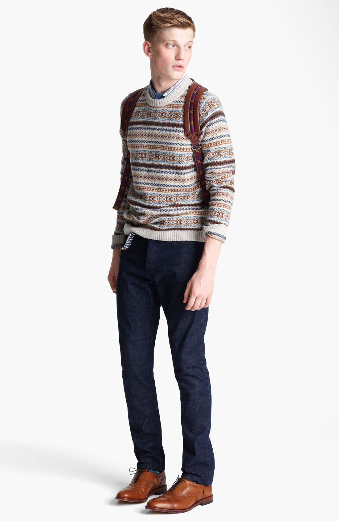 Alternate Image 4  - Topman Fair Isle Crewneck Sweater