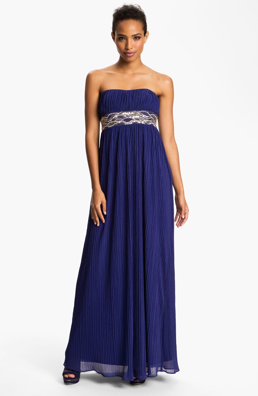 Alternate Image 1  - JS Boutique Embellished Waist Plissé Gown