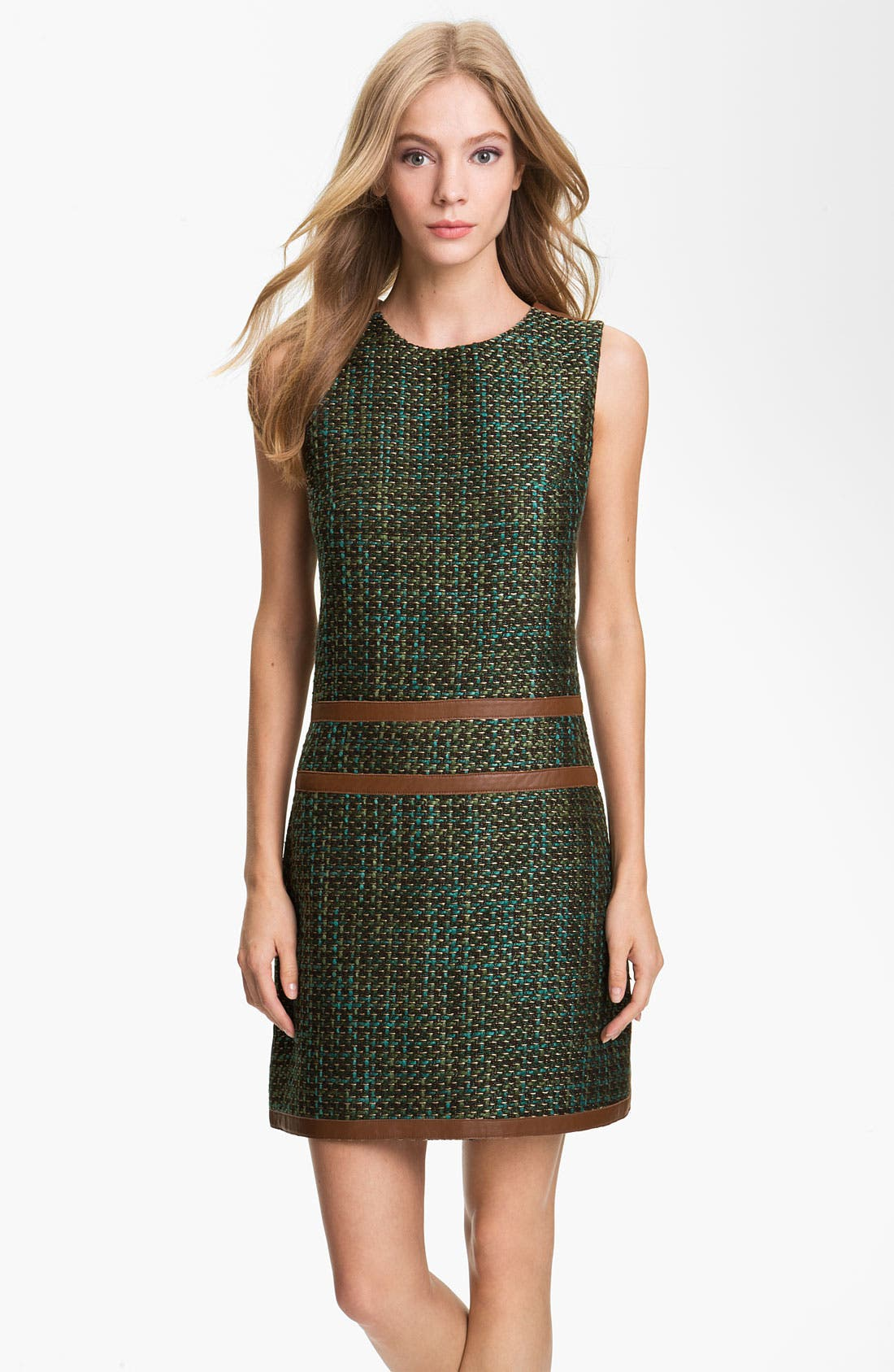 Alternate Image 1 Selected - Rachel Roy Tweed & Leather Shift Dress