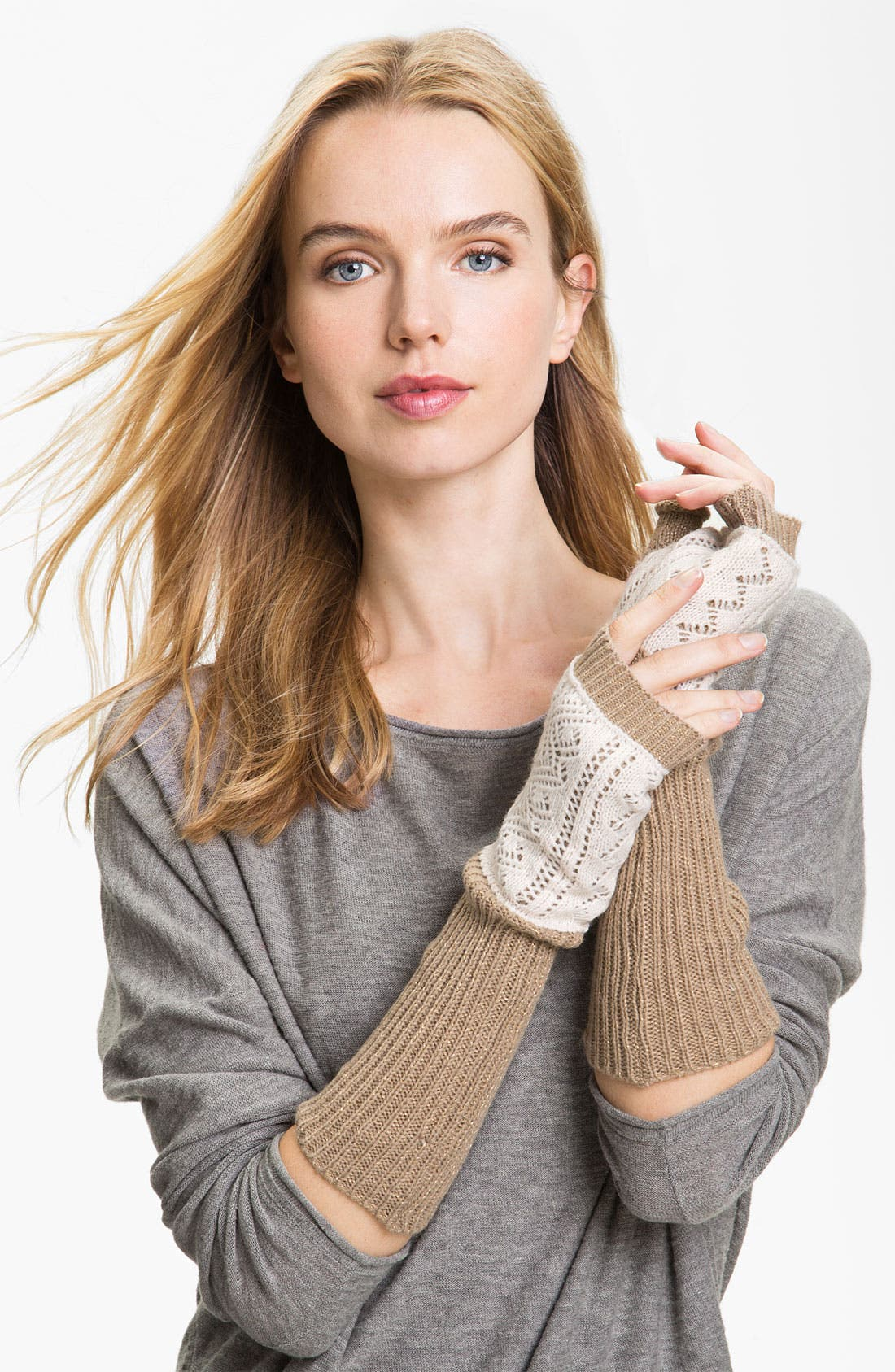 Main Image - Laundry by Shelli Segal Double Layer Knit Fingerless Gloves