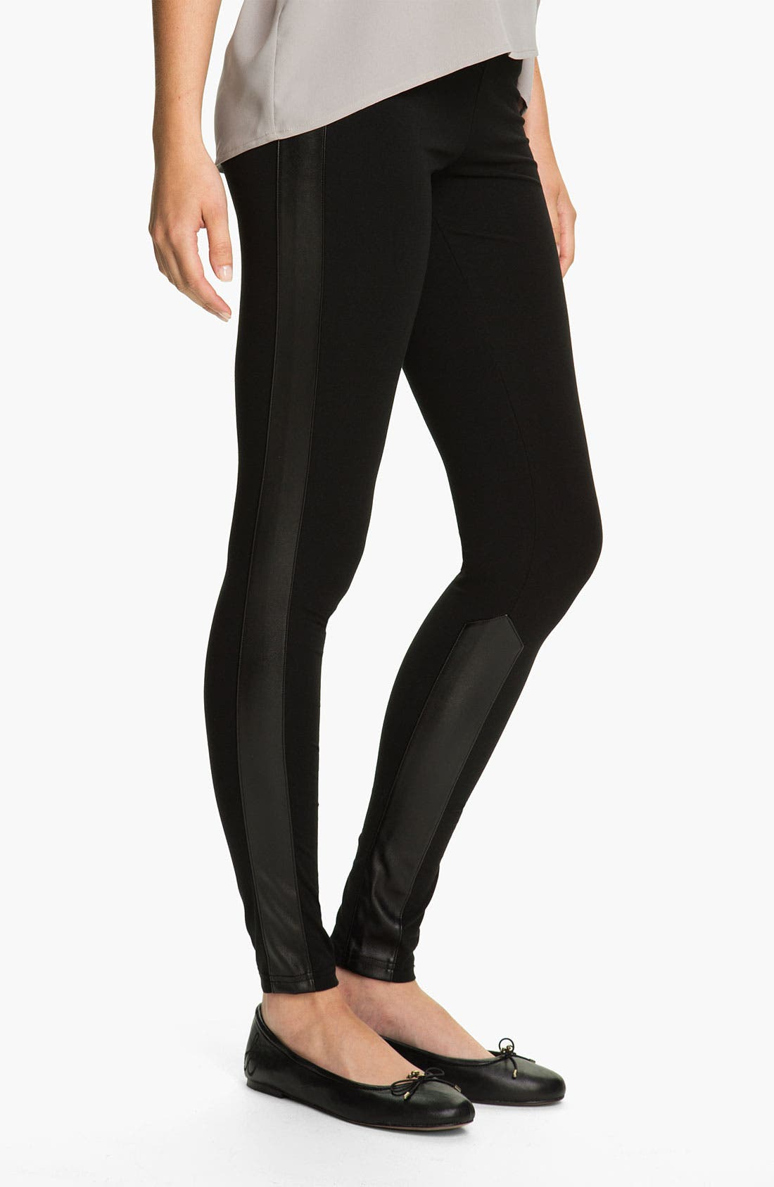 Alternate Image 2  - Rubbish® Faux Leather Panel Leggings (Juniors)