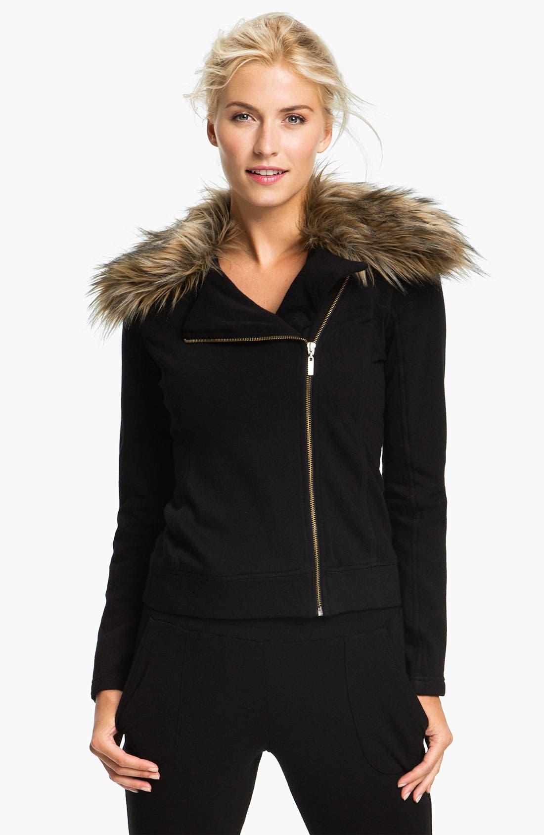 Main Image - Pink Lotus 'Open Road' Faux Fur Trim Jacket