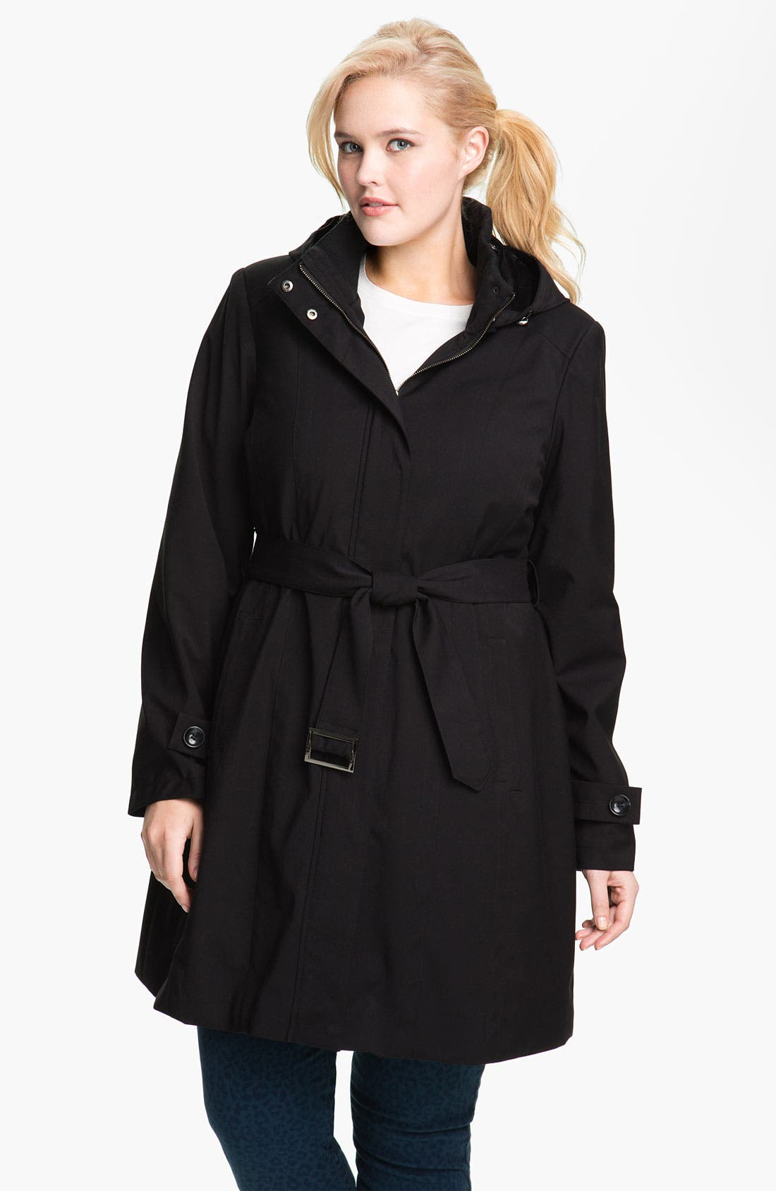Main Image - Kristen Blake Raincoat with Detachable Hood (Plus)