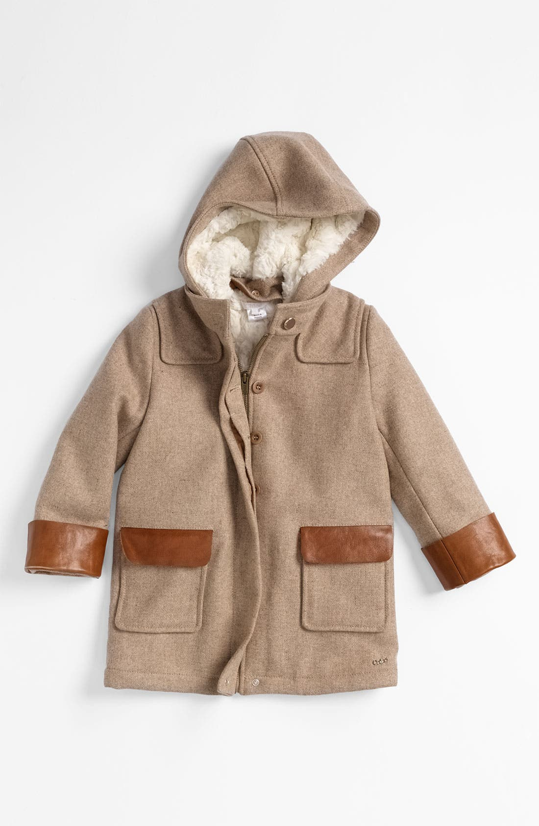 Alternate Image 1 Selected - Chloé Hooded Wool Blend Coat (Little Girls & Big Girls)