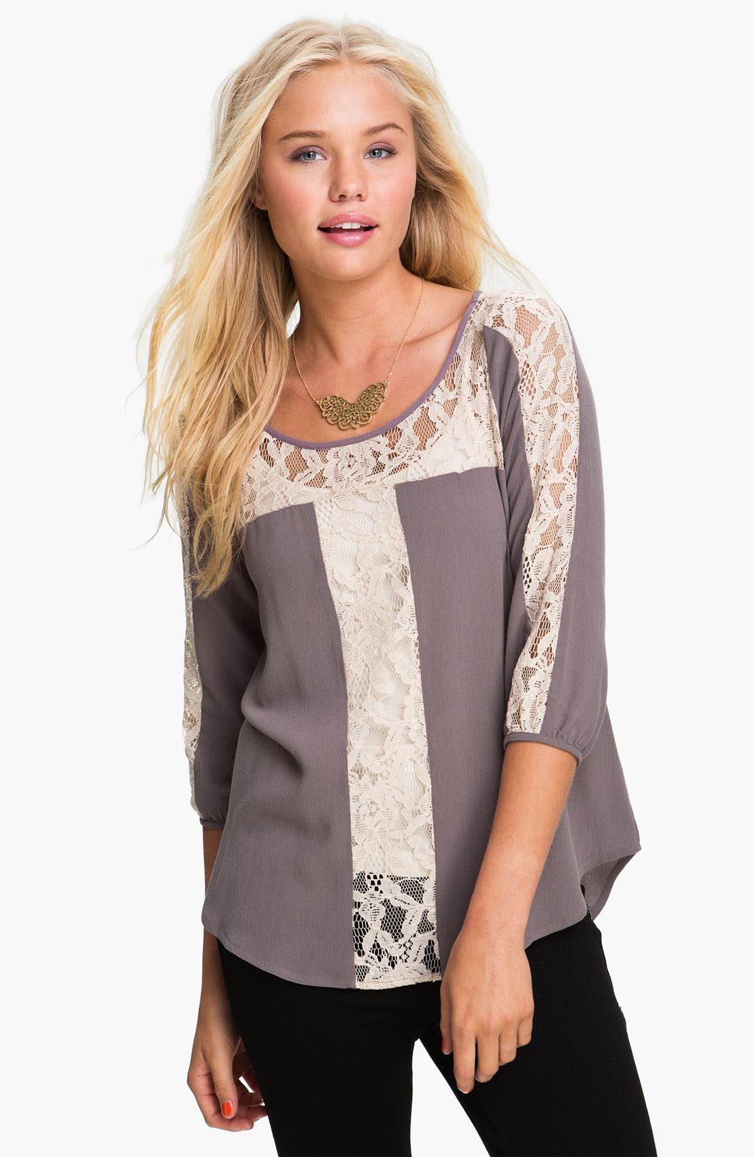 Alternate Image 1 Selected - Lace Trim Blouse