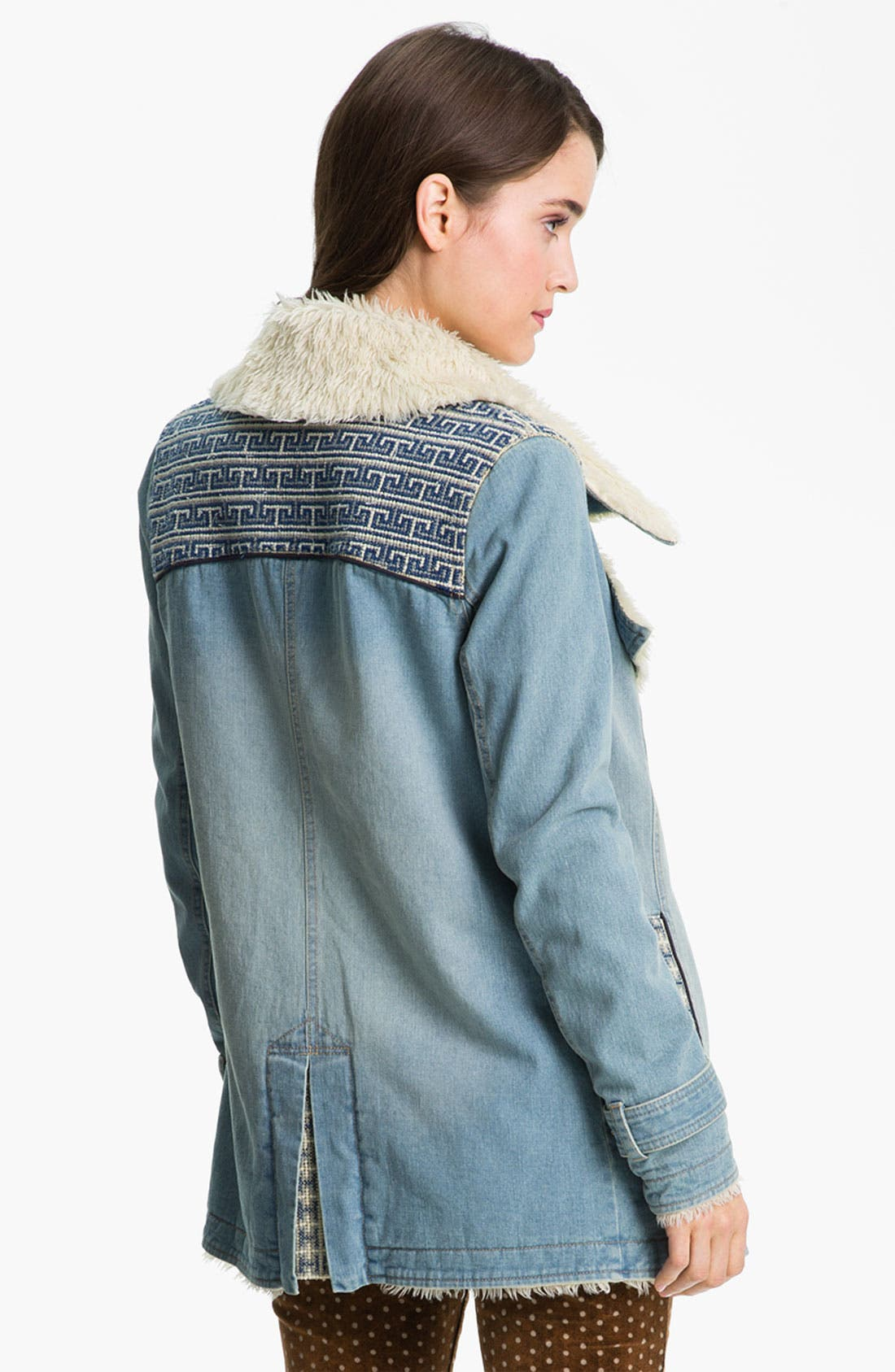Alternate Image 2  - Free People Faux Shearling Lined Denim Coat