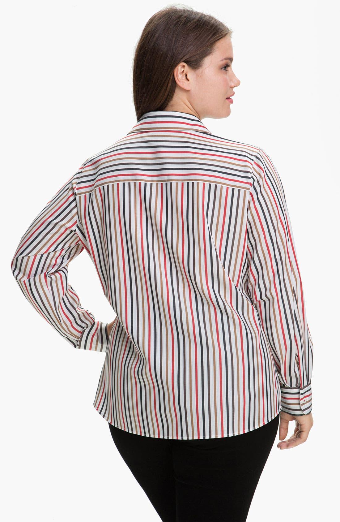 Alternate Image 2  - Foxcroft 'Autumn Stripe' Wrinkle Free Shaped Shirt (Plus)