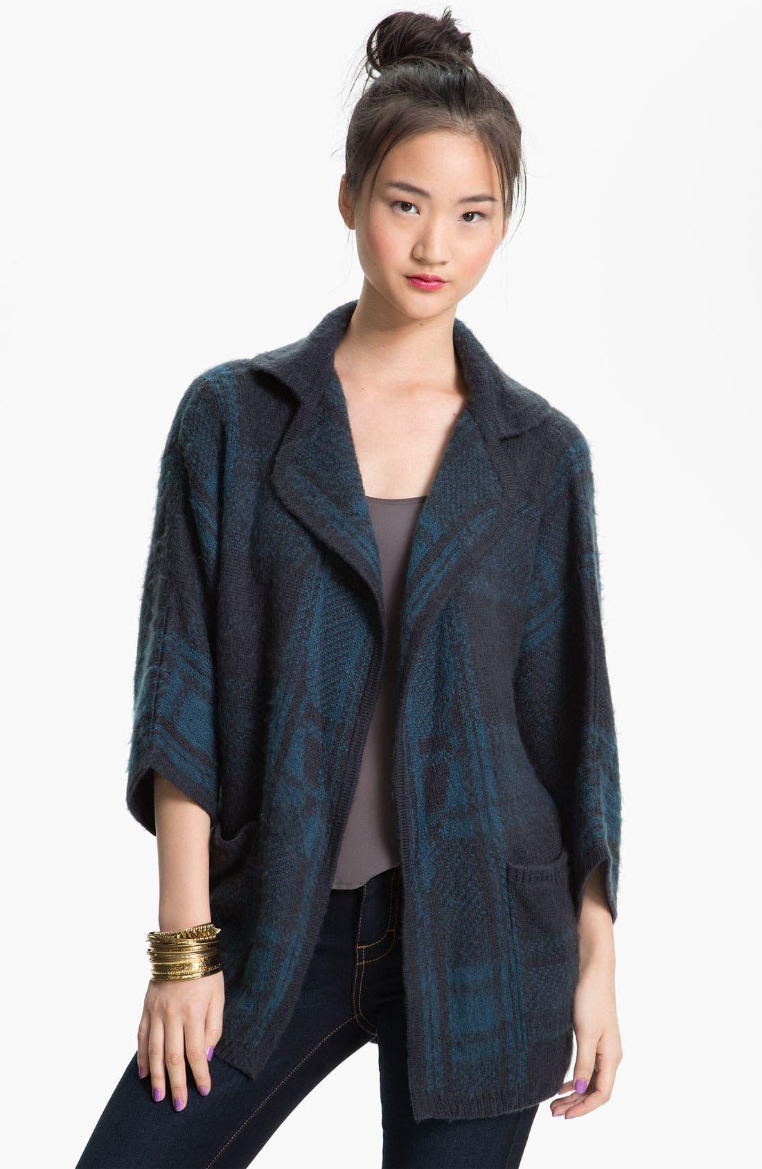 Alternate Image 1 Selected - Rubbish® Plaid Knit Cardigan (Juniors)