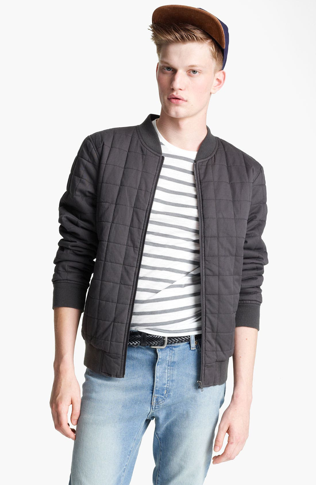 Main Image - Topman Quilted Bomber Jacket