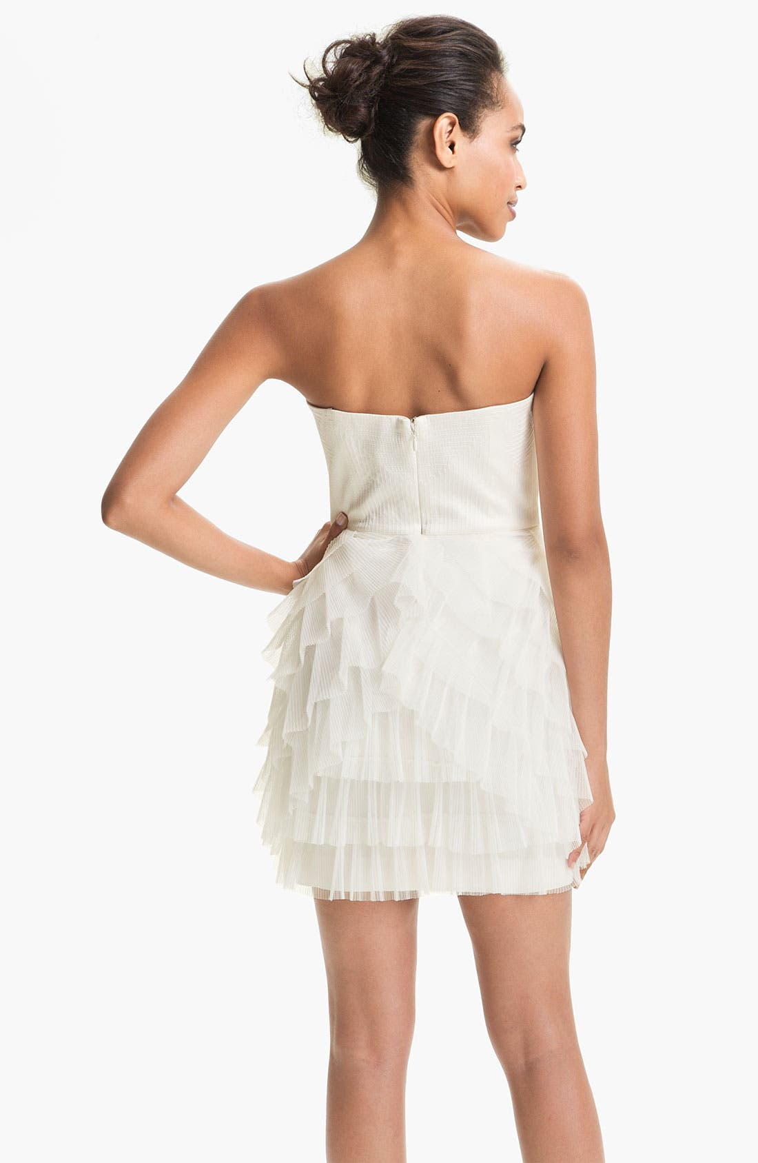 Alternate Image 2  - BCBGMAXAZRIA Strapless Mesh Tier Satin Dress
