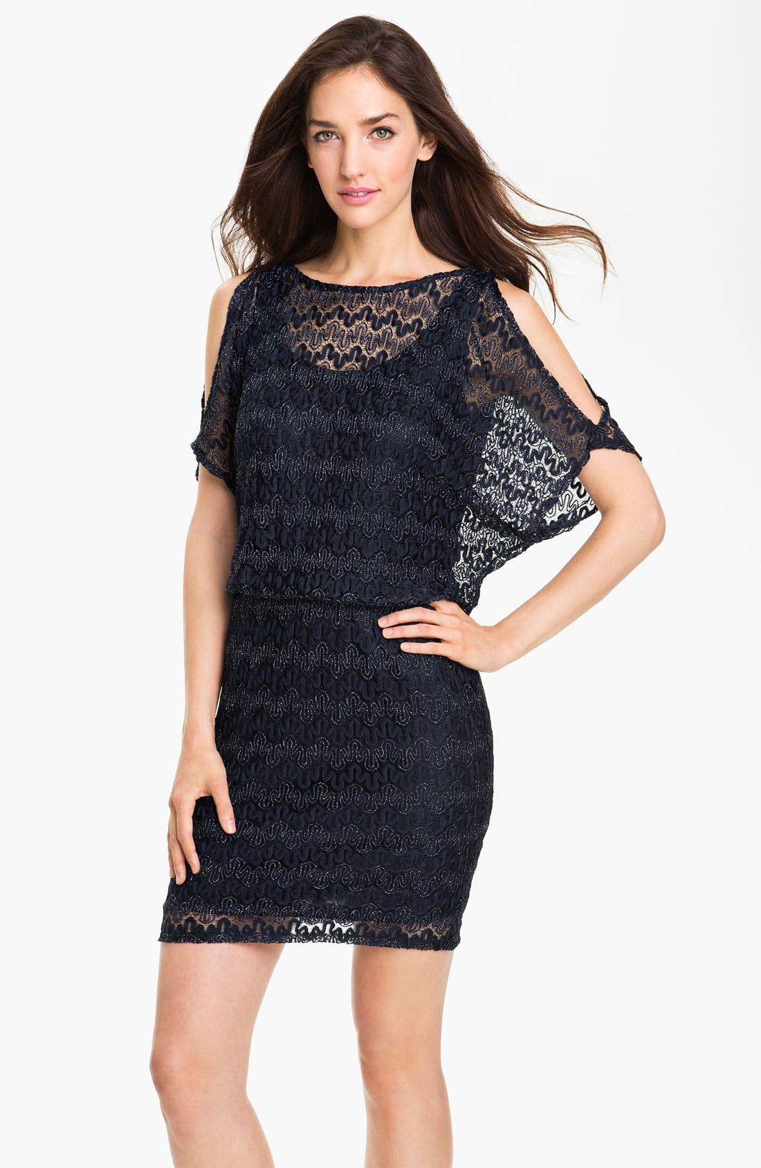 Alternate Image 1 Selected - Xscape Split Sleeve Metallic Lace Dress