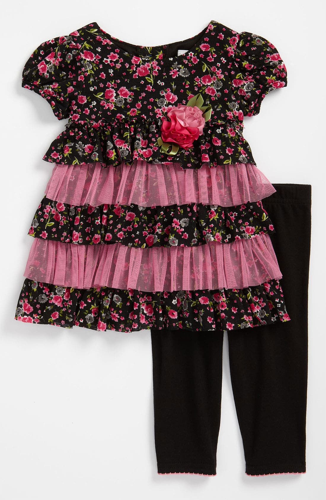 Main Image - Sweet Heart Rose Floral Tunic & Leggings (Toddler)