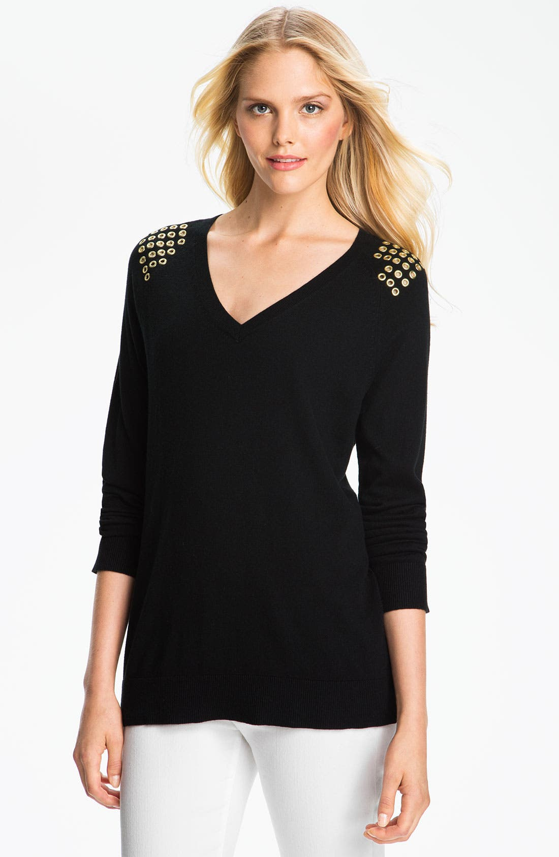 Alternate Image 1 Selected - MICHAEL Michael Kors Grommet Shoulder Sweater
