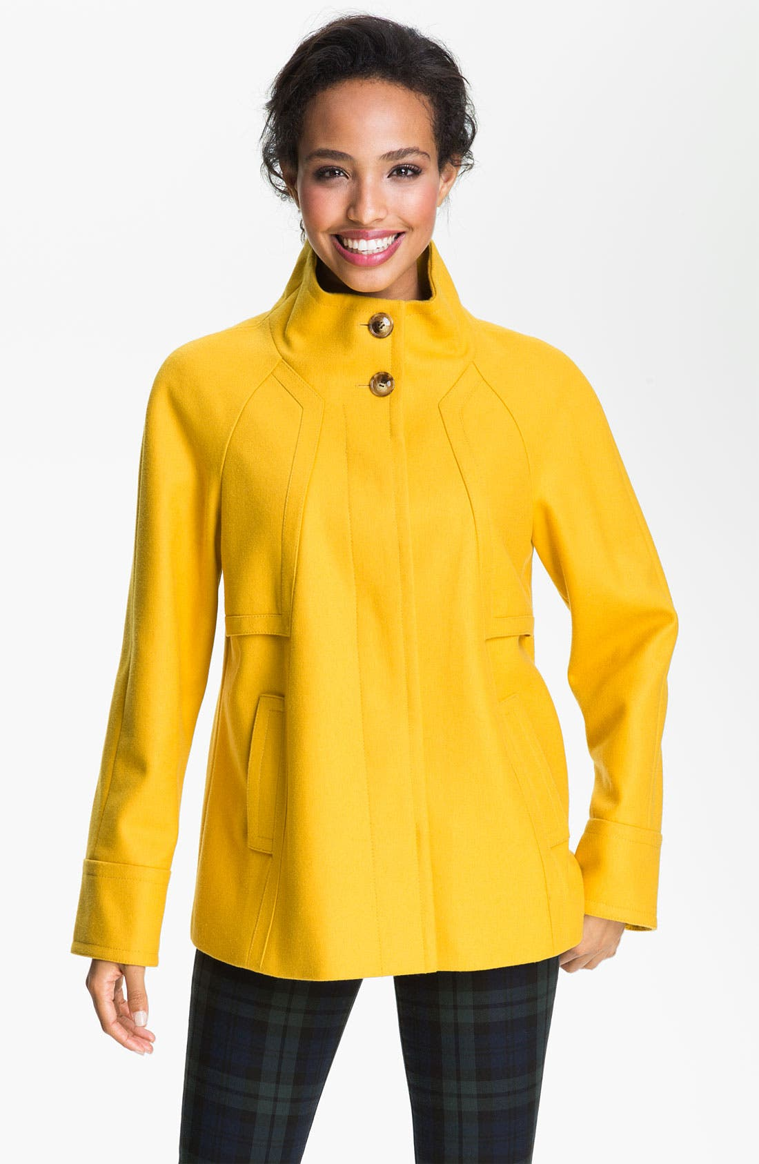 Main Image - Ellen Tracy Stand Collar A-Line Coat (Nordstrom Exclusive)